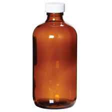 C & G LAB032100301 Bottle, 32oz., Amber, BR, white Cap with Septa, Certified, BC, L, 12/CS