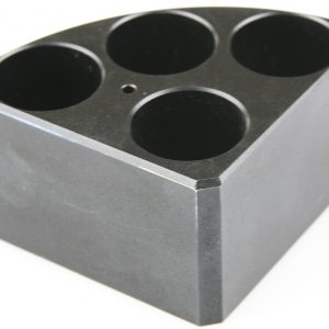 Scilogex 18900005 Black quarter reaction block, 4 holes 16ml reaction vessel 28mm dia x 43mm depth