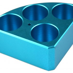 Scilogex 18900004 Blue quarter reaction block, 4 holes 30 ml reaction vessel 28mm dia x 30mm depth
