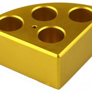 Scilogex 18900049 Gold quarter reaction block, 4 holes 16ml reaction vessel 21.6mm dia x 31.7mm depth